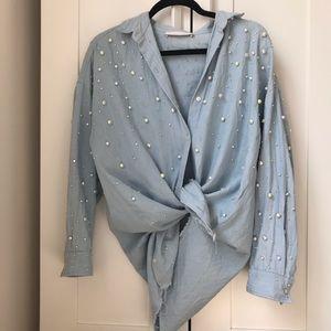 Zara oversized pearl embellished denim top